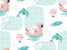 Hand drawn vector abstract cute summer time cartoon illustrations seamless pattern with pink flamingo float circle. Surfboard and dolphins in blue ocean water Vector Illustration