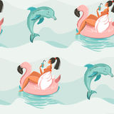 Hand drawn vector abstract cute summer time seamless pattern with beach girl swimming on pink flamingo float circle and. Dolphins in blue ocean water waves Vector Illustration