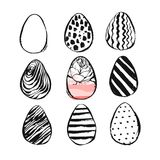 Hand drawn vector abstract Easter brush painted eggs collection set with floral motif in black and white colors isolated. Easter spring decoration background vector illustration