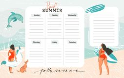 Hand drawn vector abstract exotic summer time funny Best Summer weekly organize page template with surfer girls. Surfboard,dog,unicorn float fing buoy  on on on Stock Photography