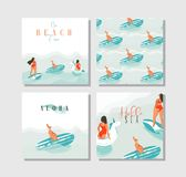 Hand drawn vector abstract exotic summer time funny cards set collection template with surfer girls, unicorn float Stock Image