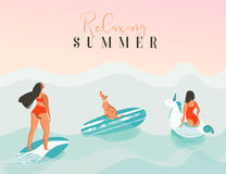 Hand drawn vector abstract exotic summer time funny illustration with surfer girls, unicorn float,surfboard and dog Stock Image