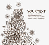 Hand drawn vector abstract floral elements. Flowers Design Vector Element with Text Place Stock Photos