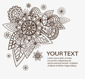 Hand drawn vector abstract floral elements. Flowers Design Vector Element with Text Place Stock Images
