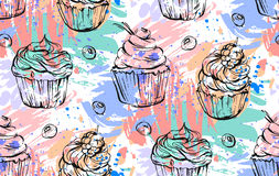 Hand drawn vector abstract freehand painting cupcakes seamless pattern in bright colors.Design for decoration,cake brand. Logo,sign,fashion fabric,menu,wrapping Stock Photography