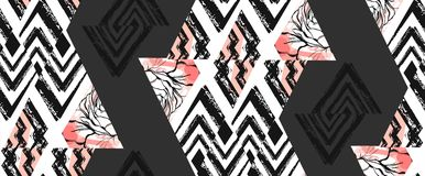 Hand drawn vector abstract freehand textured seamless pattern collage with zebra motif,organic textures,triangles. Isolated on black background.Wedding,save the Royalty Free Stock Images