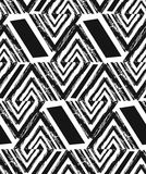Hand drawn vector abstract freehand textured seamless pattern collage with zebra motif,organic textures,triangles. Isolated on black background.Wedding,save the Stock Photography
