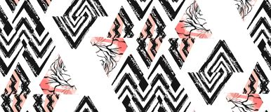 Hand drawn vector abstract freehand textured seamless pattern collage with zebra motif,organic textures,triangles Royalty Free Stock Photography