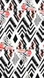 Hand drawn vector abstract freehand textured seamless pattern collage with zebra motif,organic textures,triangles Stock Image