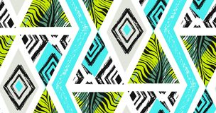 Hand drawn vector abstract freehand textured seamless tropical pattern collage with zebra motif,organic textures Stock Image