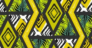 Hand drawn vector abstract freehand textured seamless tropical pattern collage with zebra motif,organic textures. Triangles isolated on black background.Wedding Stock Photos