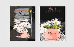 Hand drawn vector abstract freehand textured unusual save the date cards set template with cake stand design,flowers Royalty Free Stock Photos