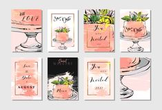 Hand drawn vector abstract freehand textured unusual save the date cards set template with cake stand design,flowers Royalty Free Stock Photo