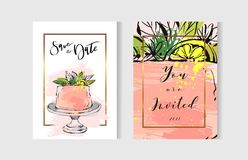Hand drawn vector abstract freehand textured unusual save the date cards set template with cake stand design,flowers Stock Photos