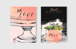 Hand drawn vector abstract freehand textured unusual save the date cards set template with cake stand design,flowers Royalty Free Stock Images
