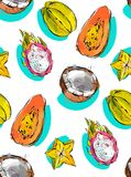 Hand drawn vector abstract freehand textured unusual seamless pattern with exotic tropical fruits papaya,dragon fruit Royalty Free Stock Images