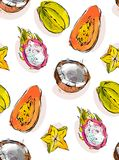 Hand drawn vector abstract freehand textured unusual seamless pattern with exotic tropical fruits papaya,dragon fruit Stock Photos