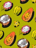 Hand drawn vector abstract freehand textured unusual seamless pattern with exotic tropical fruits papaya,dragon fruit Stock Photography