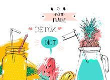 Hand drawn vector abstract fruit detox background with glass jar,watermelon,lemonade,mint leaves,pineapple,freehand Royalty Free Stock Photo