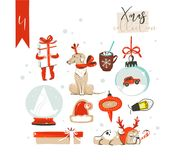 Hand drawn vector abstract fun cartoon classic Merry Christmas time illustrations decoration elements collection set. With surprise gift boxes,dog,children and Royalty Free Stock Images