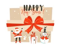 Hand drawn vector abstract fun Happy New Year time cartoon illustration greeting card with Santa Claus,,surprise gift Royalty Free Stock Images
