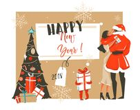 Hand drawn vector abstract fun Happy New Year 2018 time cartoon illustration with romantic couple who kissing and. Hugging,xmas tree,little child with gift and Stock Images