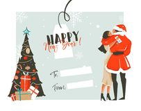 Hand drawn vector abstract fun Happy New Year time cartoon retro vintage illustrations card with romantic couple who Stock Photos