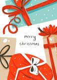 Hand drawn vector abstract fun Merry Christmas time cartoon card with cute illustrations of surprise gift boxes and Royalty Free Stock Photography
