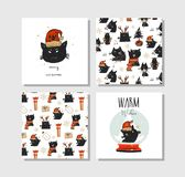 Hand drawn vector abstract fun Merry Christmas time cartoon cards collection set with cute illustrations of Santa Claus Royalty Free Stock Photo
