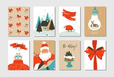 Hand drawn vector abstract fun Merry Christmas time cartoon cards collection set with cute illustrations of Santa Claus. And Xmas cake isolated on white vector illustration
