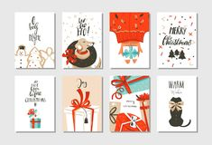 Hand drawn vector abstract fun Merry Christmas time cartoon cards collection set with cute illustrations,surprise gift Stock Photos
