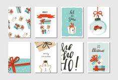 Hand drawn vector abstract fun Merry Christmas time cartoon cards collection set with cute illustrations,surprise gift. Boxes,dogs and handwritten modern Stock Photos
