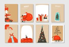 Hand drawn vector abstract fun Merry Christmas time cartoon cards collection set with cute illustrations,surprise gift Stock Image