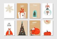 Hand drawn vector abstract fun Merry Christmas time cartoon cards collection set with cute illustrations,surprise gift. Boxes ,Christmas tree and modern Royalty Free Stock Photos
