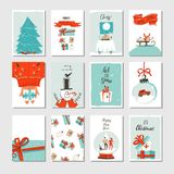 Hand drawn vector abstract fun Merry Christmas time cartoon cards collection set with cute illustrations,surprise gift Royalty Free Stock Photography