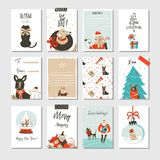 Hand drawn vector abstract fun Merry Christmas time cartoon cards collection set with cute illustrations,surprise gift. Boxes ,Xmas mammal dogs and modern Royalty Free Stock Photo