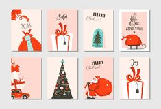 Hand drawn vector abstract fun Merry Christmas time cartoon cards collection set with cute illustrations,surprise gift. Boxes,xmas tree and modern calligraphy vector illustration