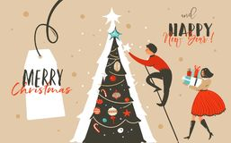 cb971e6e2a9 Hand drawn vector abstract fun Merry Christmas time cartoon header.  Illustration greeting card with family