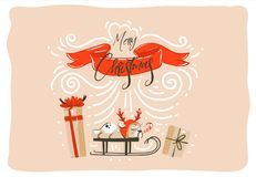 Hand drawn vector abstract fun Merry Christmas time cartoon illustration card design with surprise gift boxes,pet dog on Royalty Free Stock Image