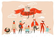 Hand drawn vector abstract fun Merry Christmas time cartoon illustration greeting card with group of people in winter. Clothing,surprise gift boxes and xmas Stock Image