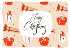 Hand drawn vector abstract fun Merry Christmas time cartoon illustration greeting card with many colorful surprise gift Stock Image