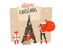 Hand drawn vector abstract fun Merry Christmas time cartoon illustration greeting card with Santa Claus dad and son. Surprise gift boxes,Christmas tree and Royalty Free Stock Photos