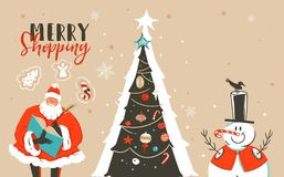 Hand drawn vector abstract fun Merry Christmas time cartoon illustration greeting card with Santa Claus,xmas tree Royalty Free Stock Photos