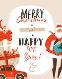 Hand drawn vector abstract fun Merry Christmas time cartoon illustration greeting card tag with Santa Claus,car,surprise. Gift boxes and Best wishes typography stock illustration