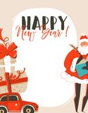 Hand drawn vector abstract fun Merry Christmas time cartoon illustration greeting card tag with Santa Claus,car,surprise Stock Photos