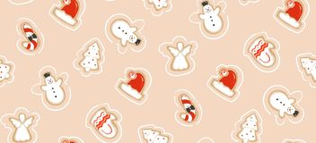 Hand drawn vector abstract fun Merry Christmas time cartoon illustration seamless pattern with baked gingerbreads. Cookies  on craft paper background Stock Photo