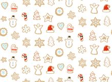 Hand drawn vector abstract fun Merry Christmas time cartoon illustration seamless pattern with baked gingerbreads. Cookies isolated on white background Stock Photos