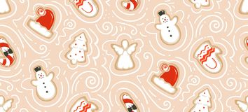 Hand drawn vector abstract fun Merry Christmas time cartoon illustration seamless pattern with baked gingerbreads. Cookies isolated on craft paper background Stock Photo