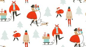 Hand drawn vector abstract fun Merry Christmas time cartoon illustration seamless pattern with people walking in winter Royalty Free Stock Images