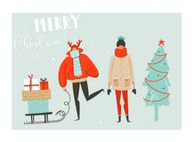 Hand drawn vector abstract fun Merry Christmas time cartoon illustration set with group of people in winter clothing Stock Photography